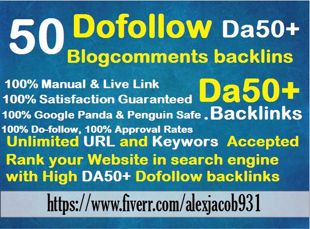 create manually 50 links Da30+ dofollow blog comments backlinks