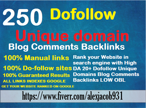 Create Manually 250 dofollow unique domain backlinks high da pa low obl
