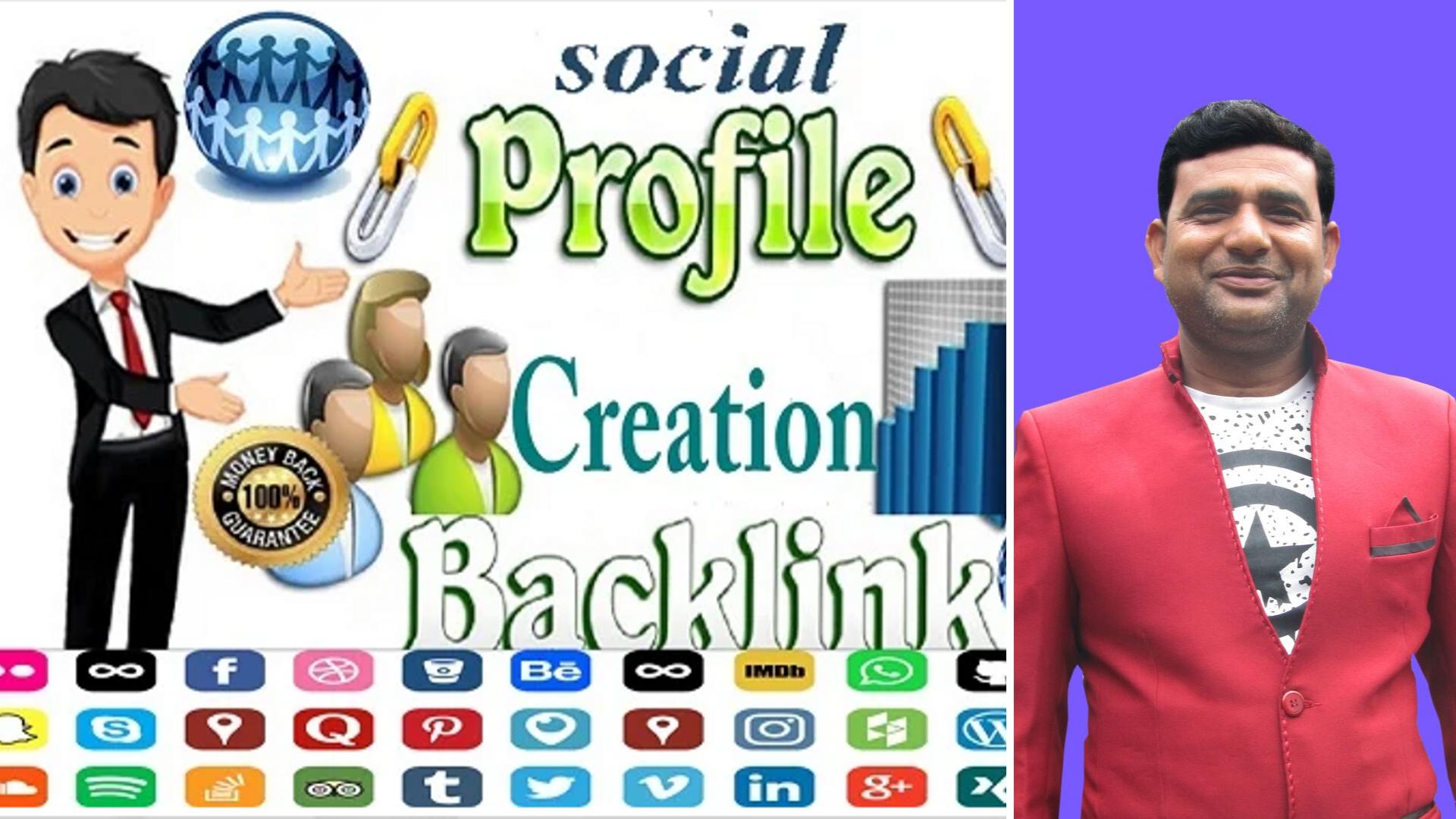 I Do 40 Quality profile creation Dofollow backlinks for your website with high DA