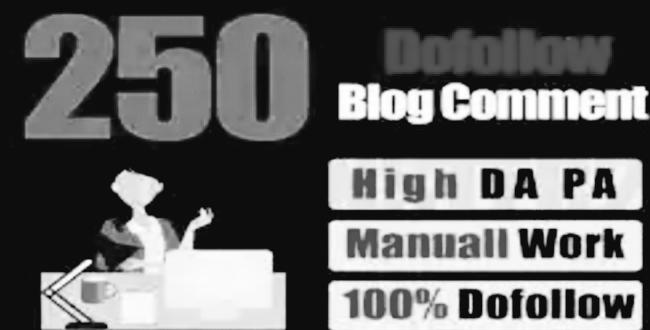250 Blog Comment Backlinks High DA/PA 20 to 80 sites