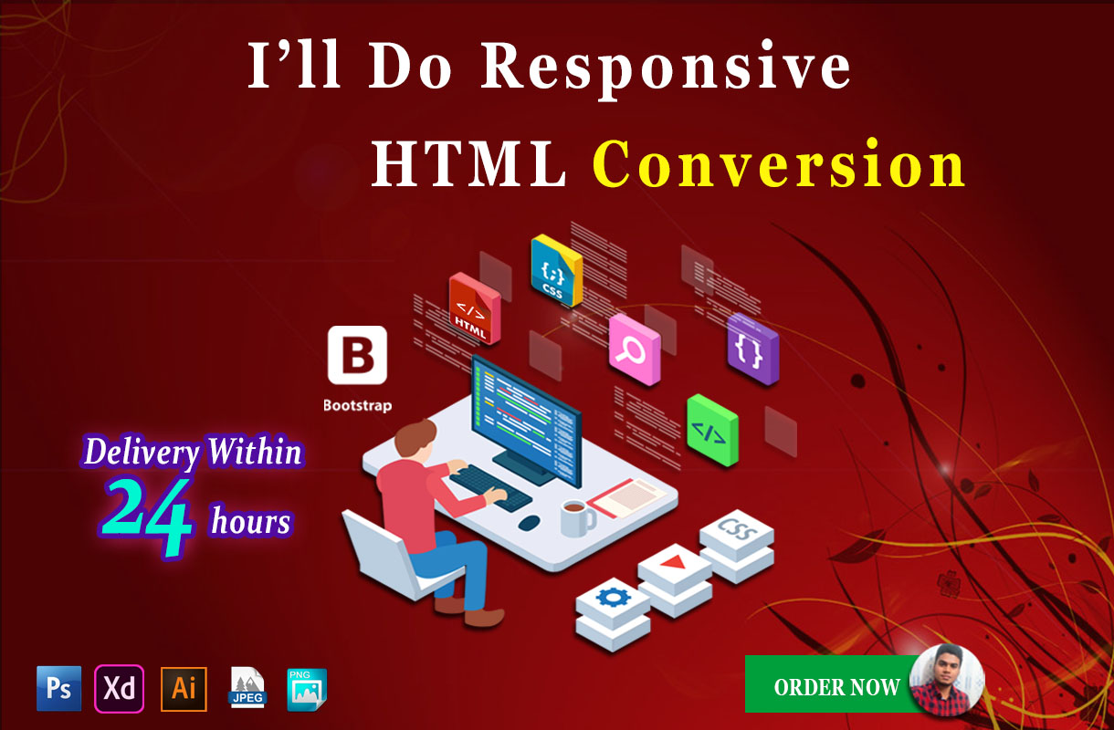 I will design responsive HTML web page