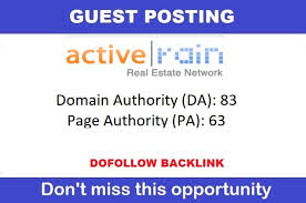 Provide real estate Guest Post on activerain with high authority backlinks