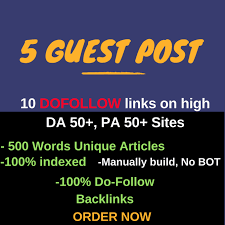 I will provide 5 Guest Post with high DA PA