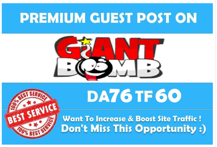 Publish Guest Post on giantbomb. com with DA 88 PA 59 and traffic 2M