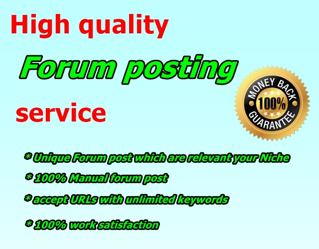 offer 12 high quality forum posting for promote your website