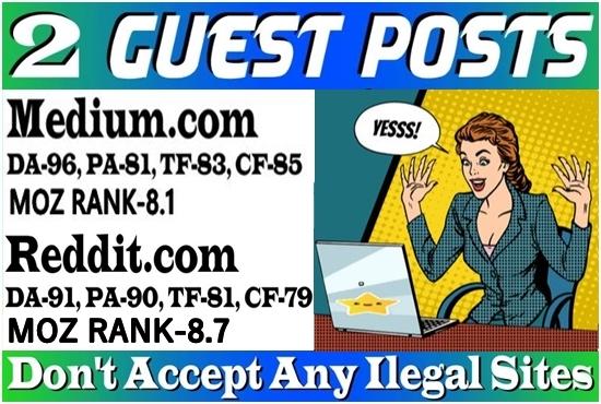 Write and publish 2 guest post on Medium & Reddit, DA 91 HQ backlinks