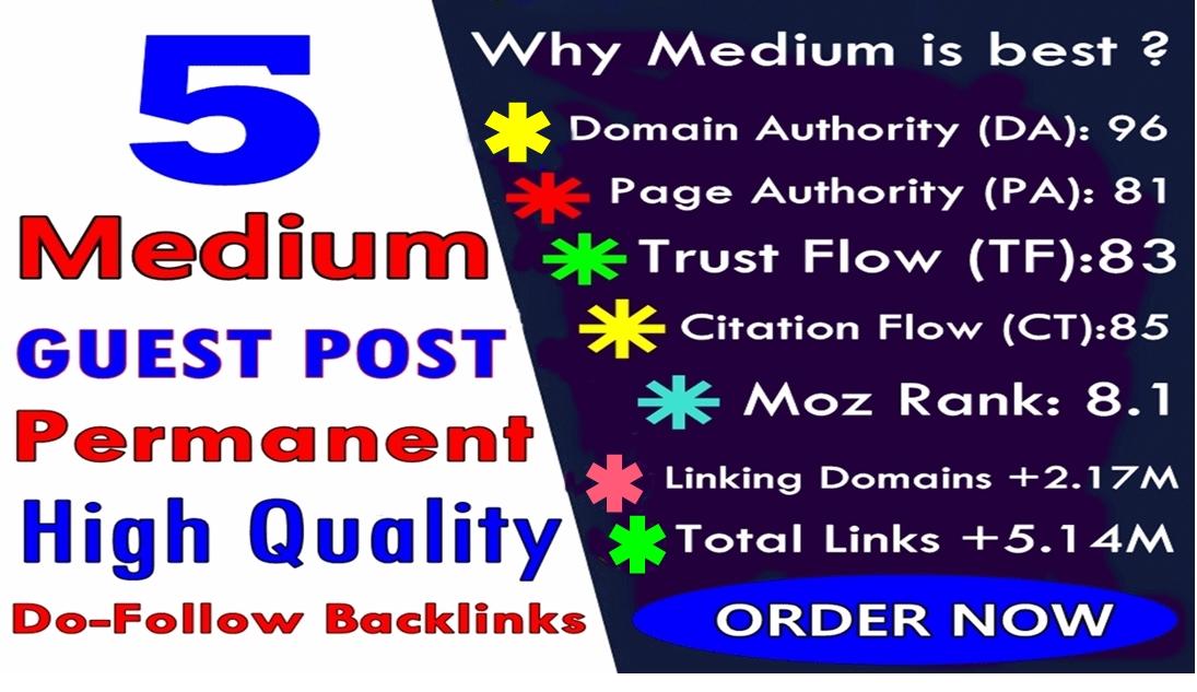 Write & Publish 5 guest post backlinks on Medium. com High DA 96 & PA 81