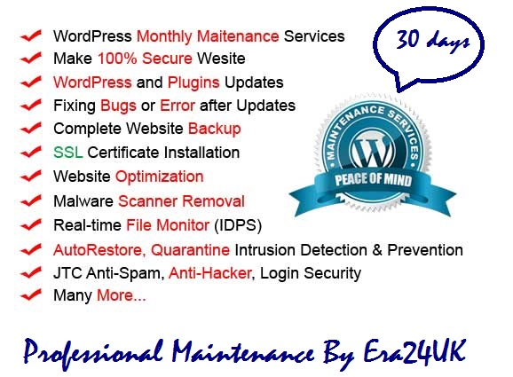 Monthly Ultimate Website Maintenance Service WordPress website Security & Much more