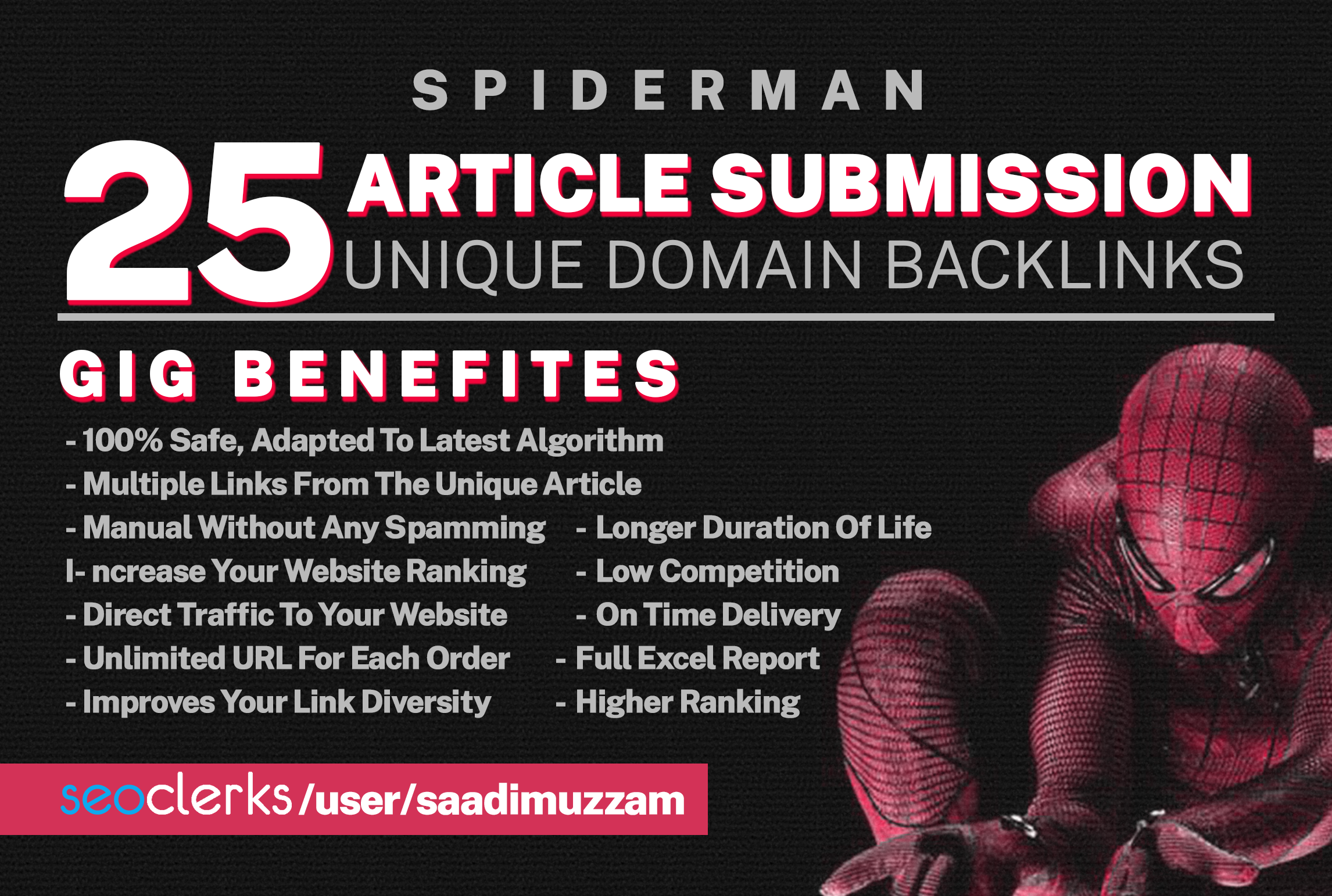 I Will Provide 25 Article Submission Unique Domain Backlinks