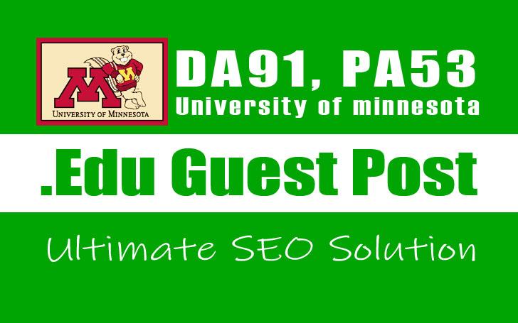 Publish Guest Post on a Edu Blog - University of Minnesota,  DA91,  PA53