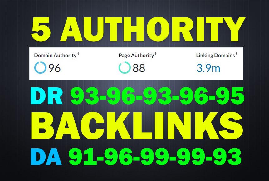 5 High Authority Backlinks - Da90+ 4 Do/1 No-Follow Mix - 80 OFF for 245