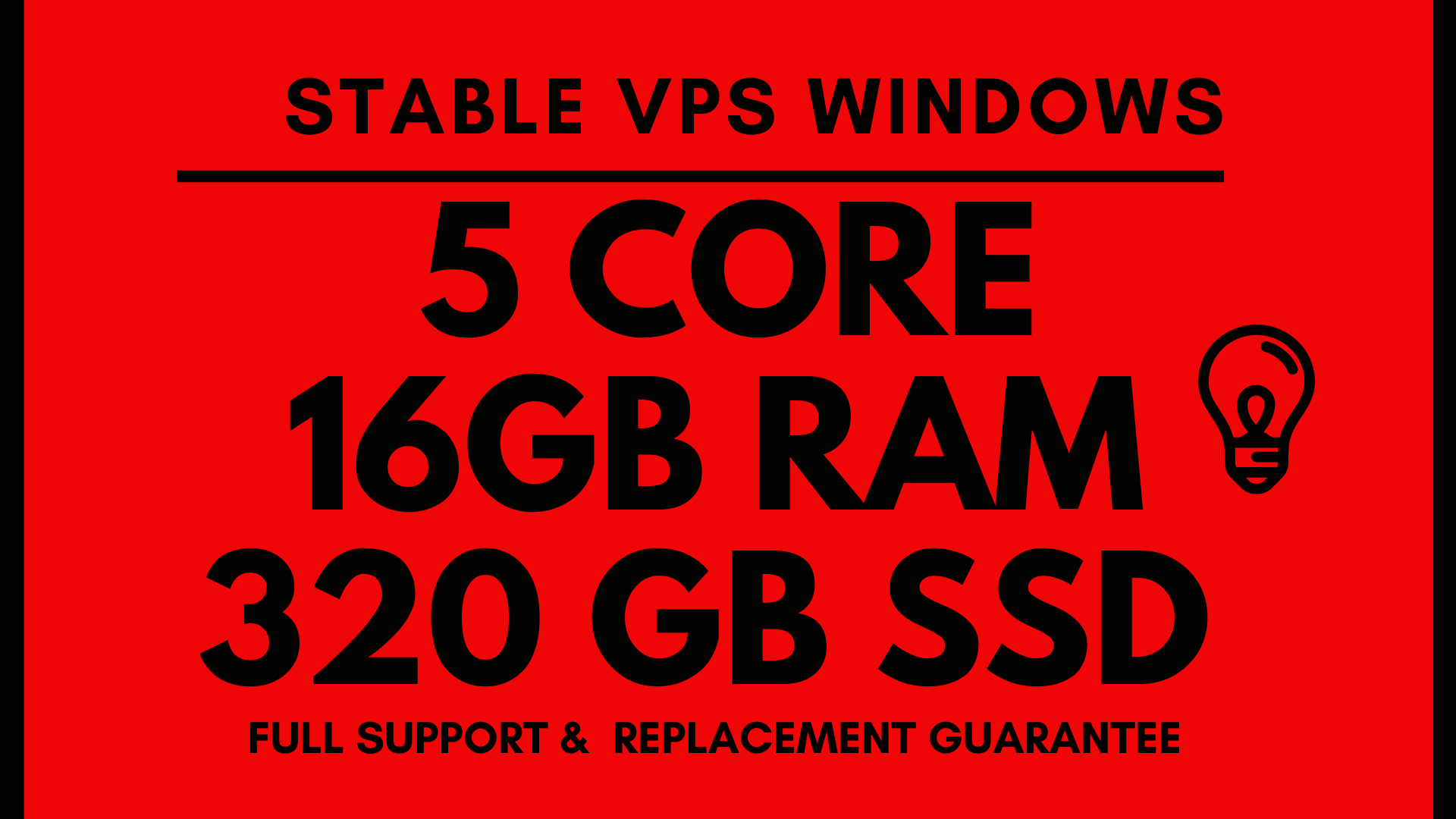 STABLE Windows VPS RDP 16GB RAM 5CORE 320GB SSD