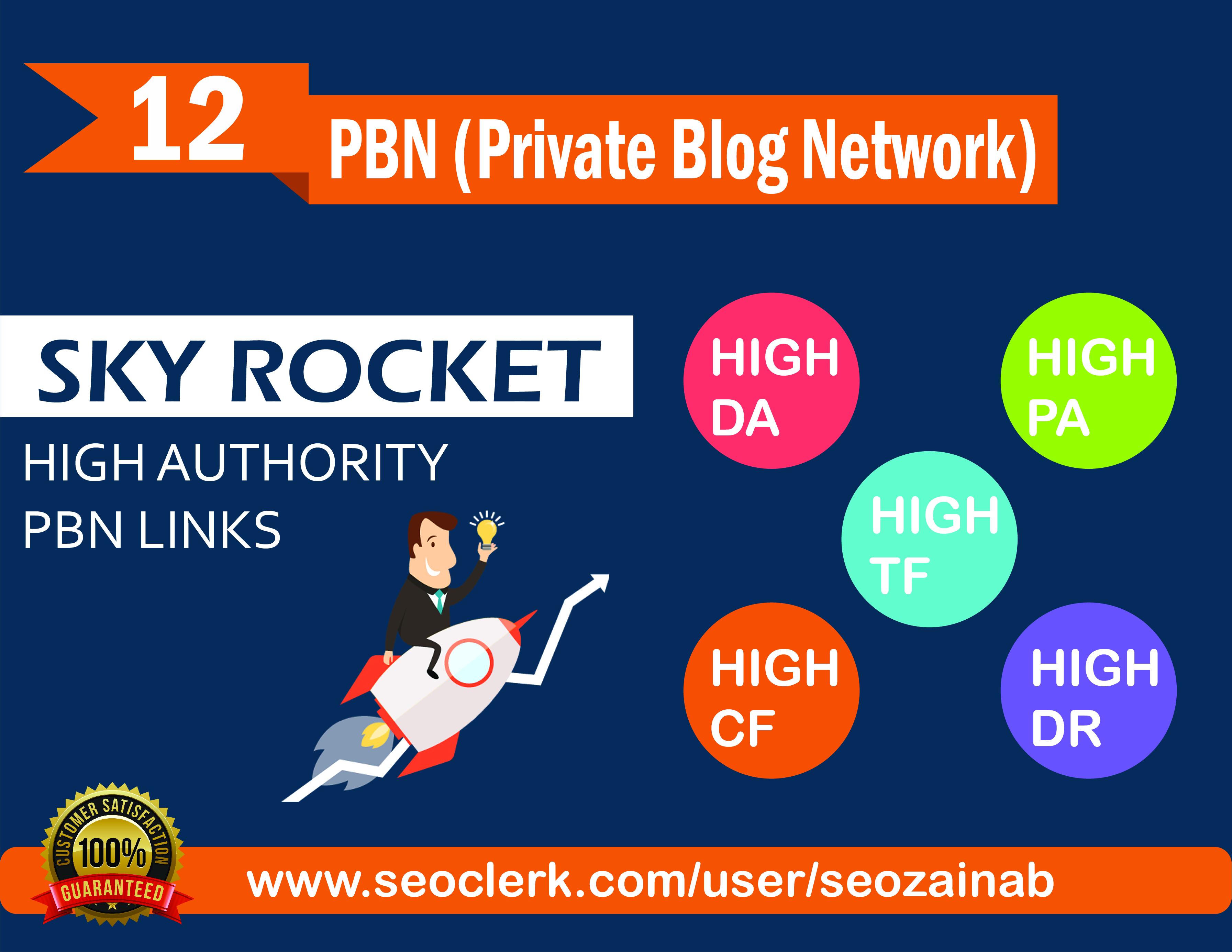 Build 12 High DA/PA TF/CF HomePage PBN Backlinks All Dofollow High Quality Backlinks
