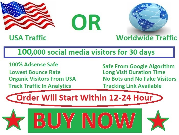 100,000 social media visitors guarantee 100 for 45 days