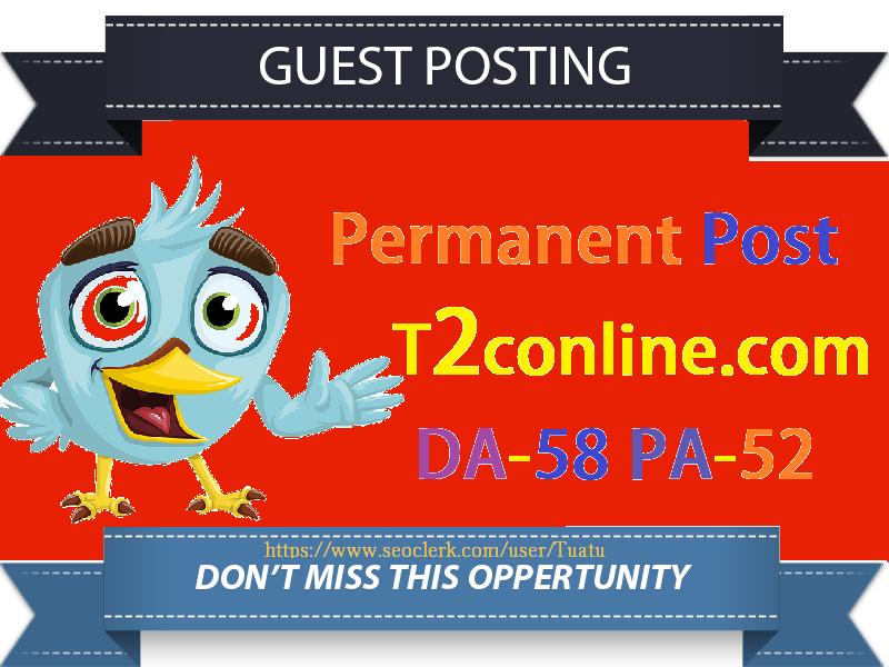 Publish Guest Post On DA58 Authority Website T2conline