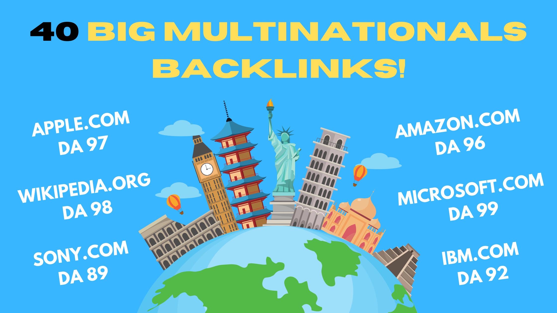 40 Big Multinationals Backlinks Apple,  Sony,  Microsoft,  Wikipedia,  Lenovo,  etc.