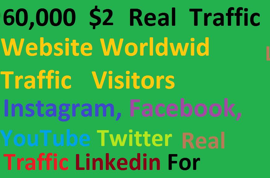 Real 60,000 Website Worldwide Traffic Visitors instagram Facebook,  Youtube,  twitter,  Linkedin for