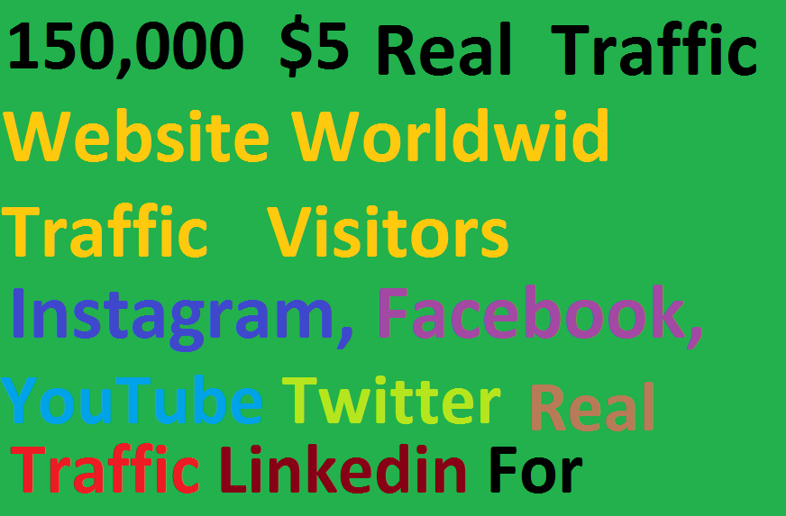 Real 150,000 Website Worldwide Traffic Visitors instagram Facebook,  Youtube,  twitter,  Linkedin for