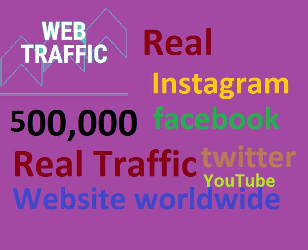 Real+500,000 Website Worldwide Traffic Google Bing Instagram Facebook twitter Youtube for