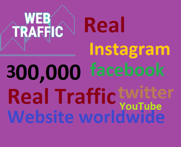 Real+300,000 Website Worldwide Traffic Google Bing Instagram Facebook twitter Youtube for