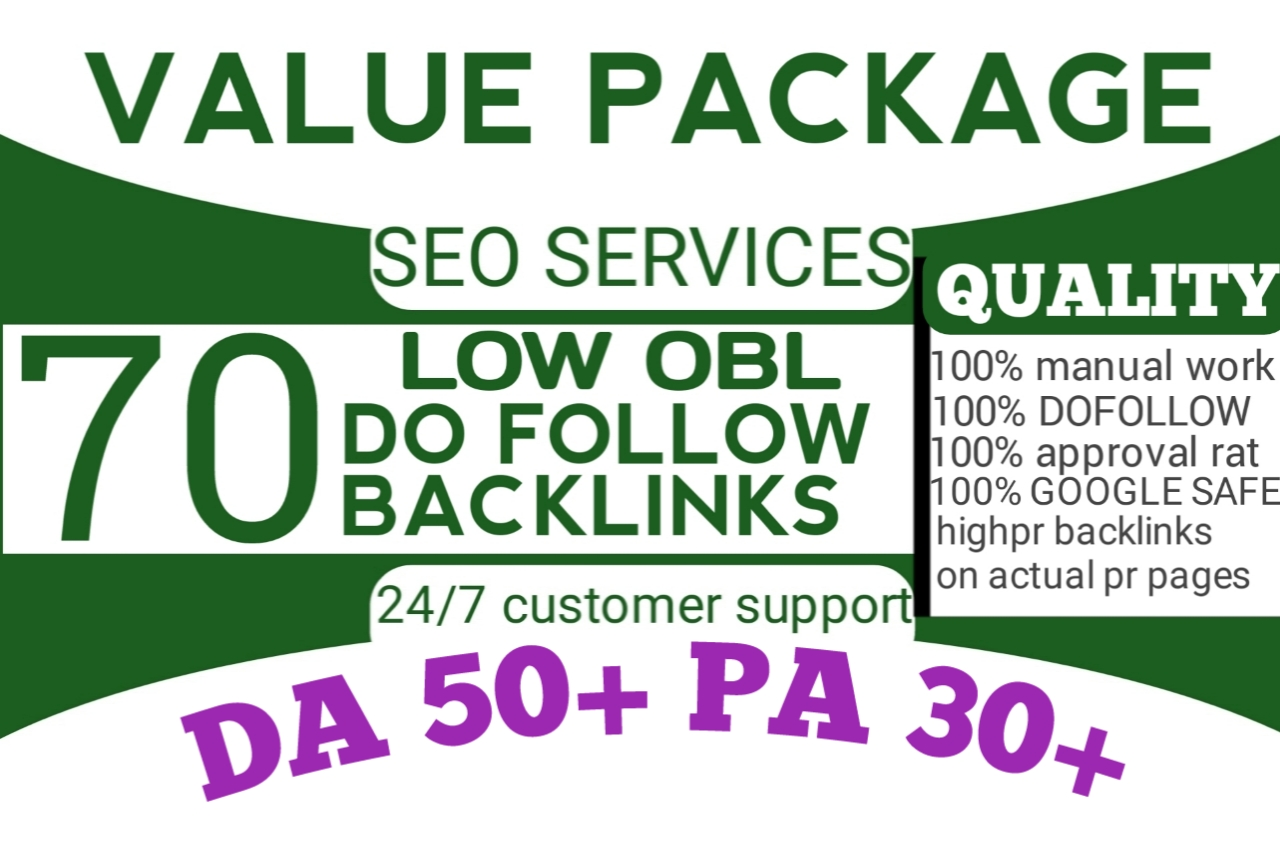 We will provide 70 links of DA 50+ with unique domains and low obl