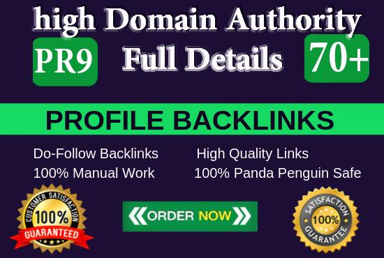manually create pr9 da 70 + SEO dofollow backlinks profile
