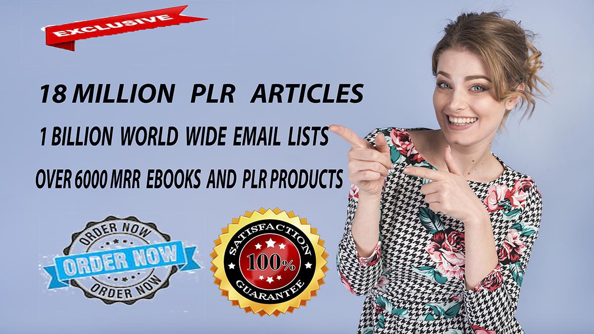 Get Over 18 Million PLR Articles,  eBooks, 1 Billion Email Database,  Bonuses and Giveaways