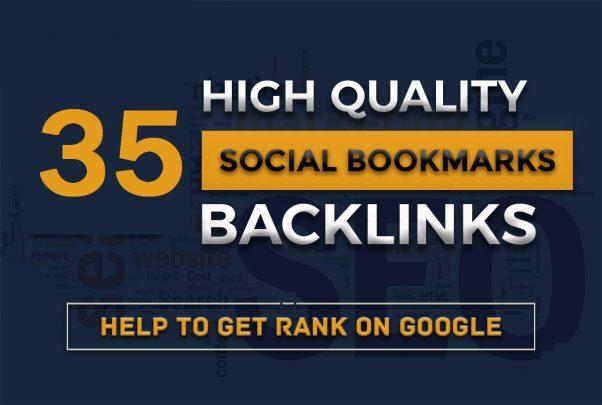 Provide 35 Large Quality Social Bookmarks Backlinks