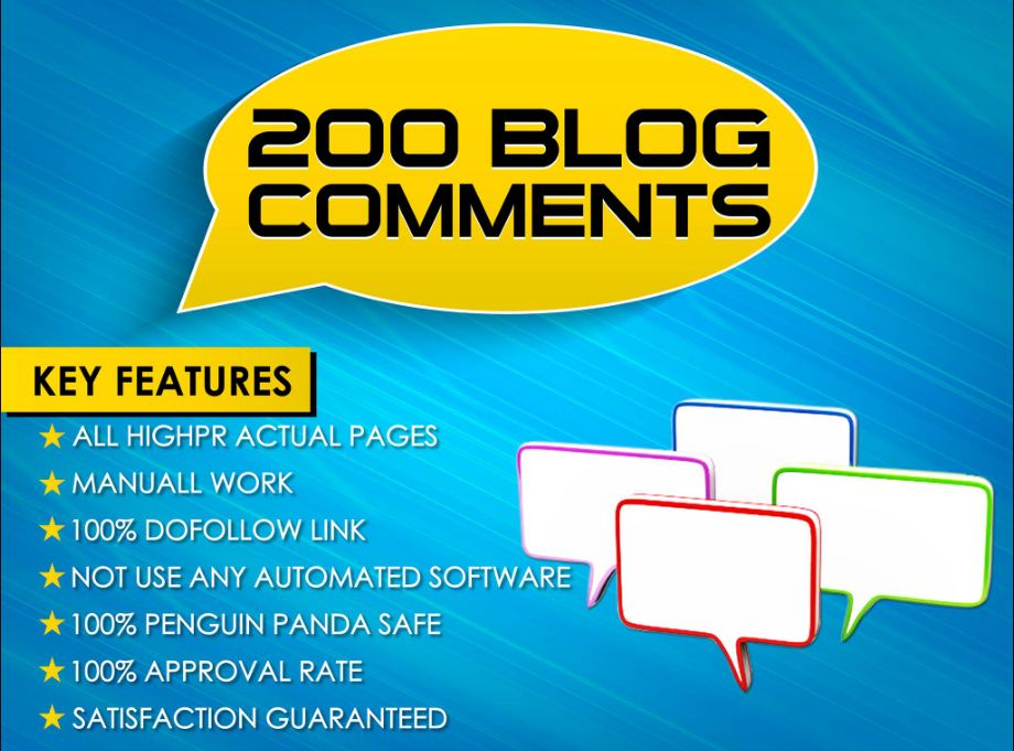 i Will do 200 Blog Comments And High Qulity Work And Backlinks With High DA and PA Low Obl