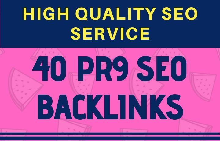 High quality 40 PR9 SEO Backlinks service