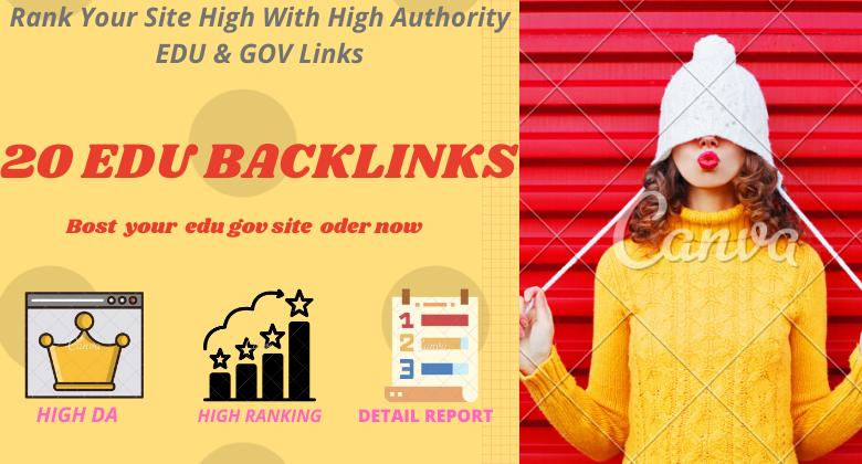I will create high quality edu 20 backlinks