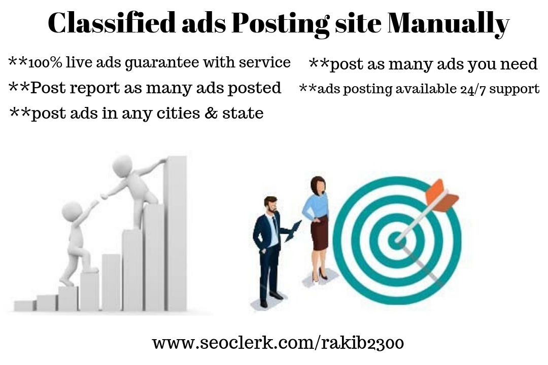 I will post your ads to 60 top classified sites manually