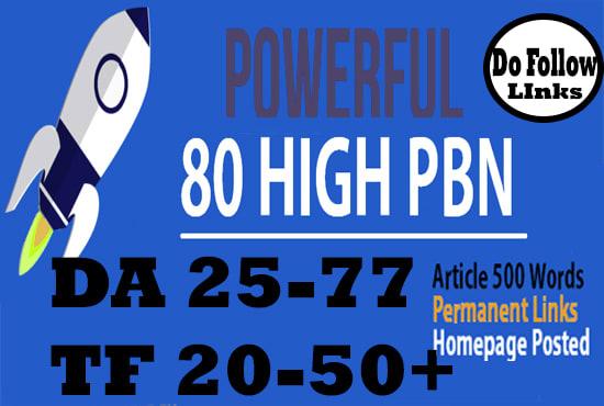 I will do 80 pbn unique domain DA 20 to 30+ dofollow homepage parmanent backlinks