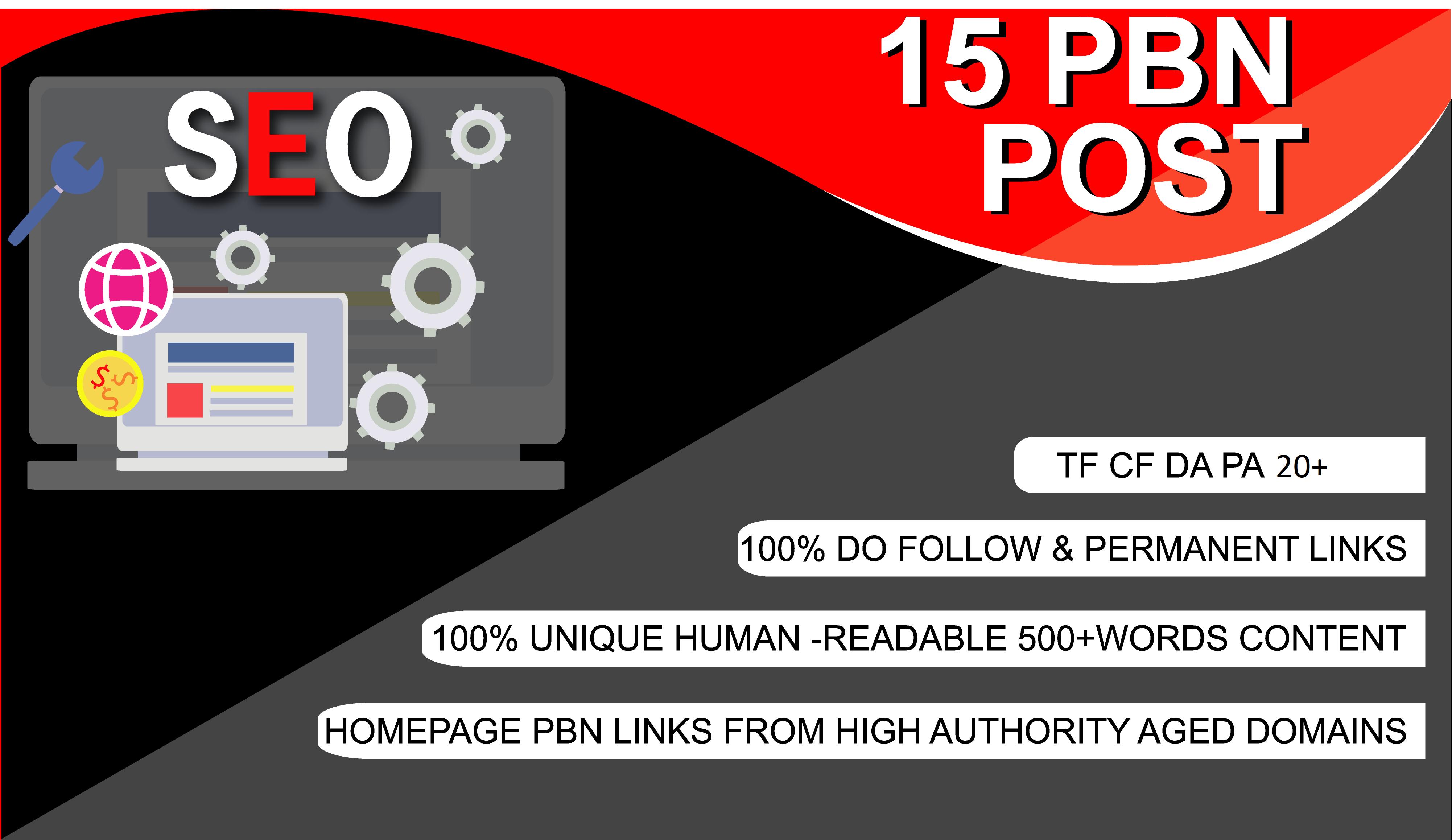I will provide 15 PBN dofollow DA 25+ homepage parmanent backlinks