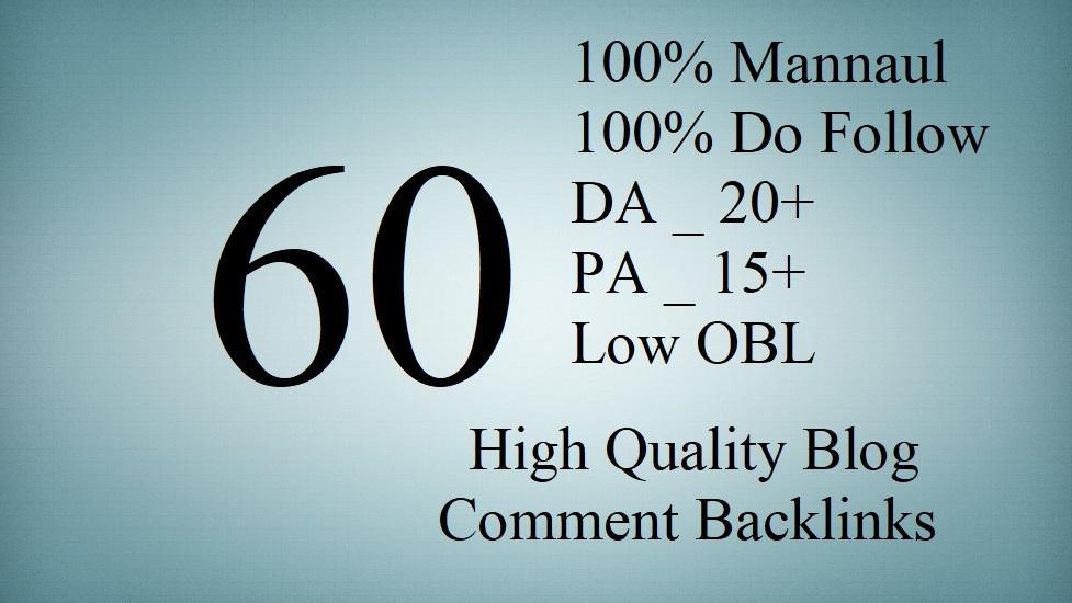 Create 60 DO Follow DA PA Mannual Backlinks