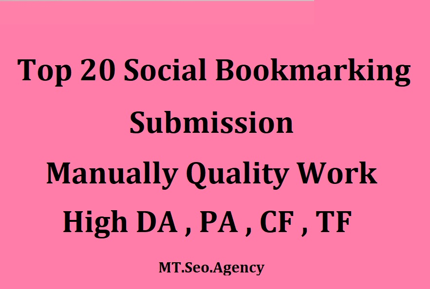 Manually 20 Bookmark Submission Backlinks,  High Pa Da Cf Tf