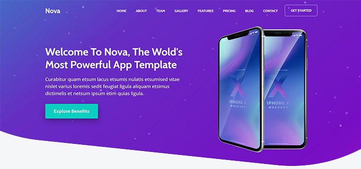 HTML5 Web Template App Landing Page