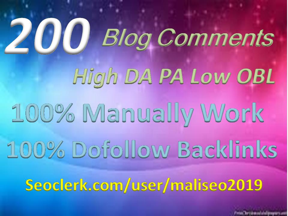 Creat Provide seo build 200 Blog Comments Backlinks High DA,PA.TF.CF