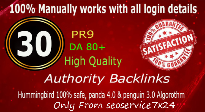 Manually Do 30 Pr9 DA 80+ Safe SEO High Authority Backlinks 30+ Domain HIGH QUALITY BACKLINKS