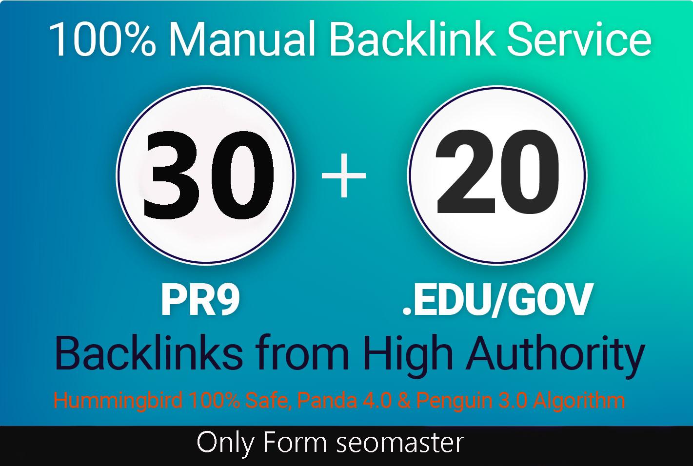 I Will Do Manualy 30 Pr9 + 20 Edu - Gov High PR SEO Authority Backlinks - Fire Your Google Ranking f