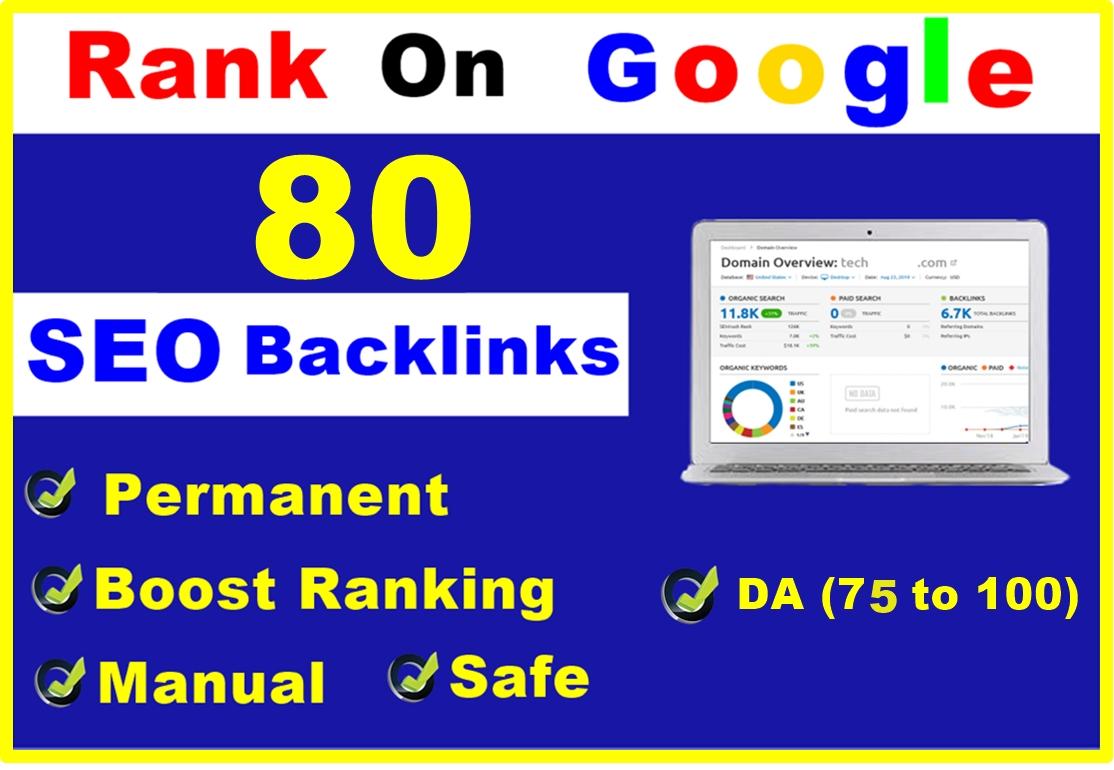 Manual 80 SEO Backlinks Of High DA 80+ For Top Google Ranking