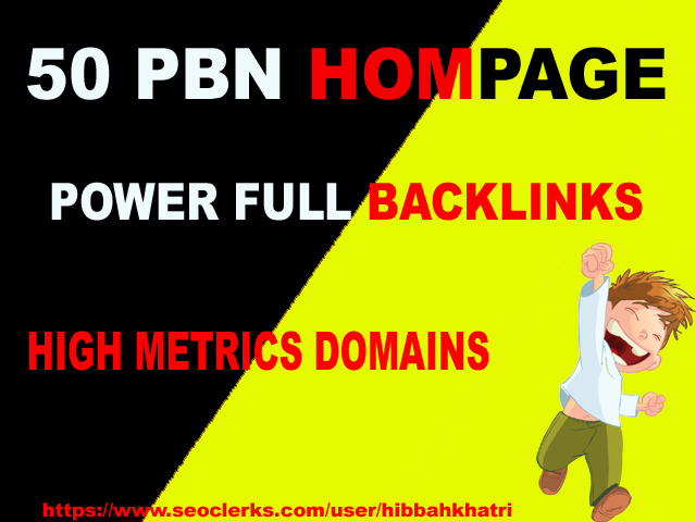50 High PA/DA TF/CF Homepage PBN Backlinks ranking your website