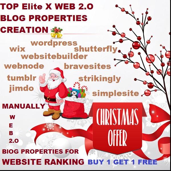 TOP 30 Elite x WEB 2.O Blog Properties Creation For Ranking Website