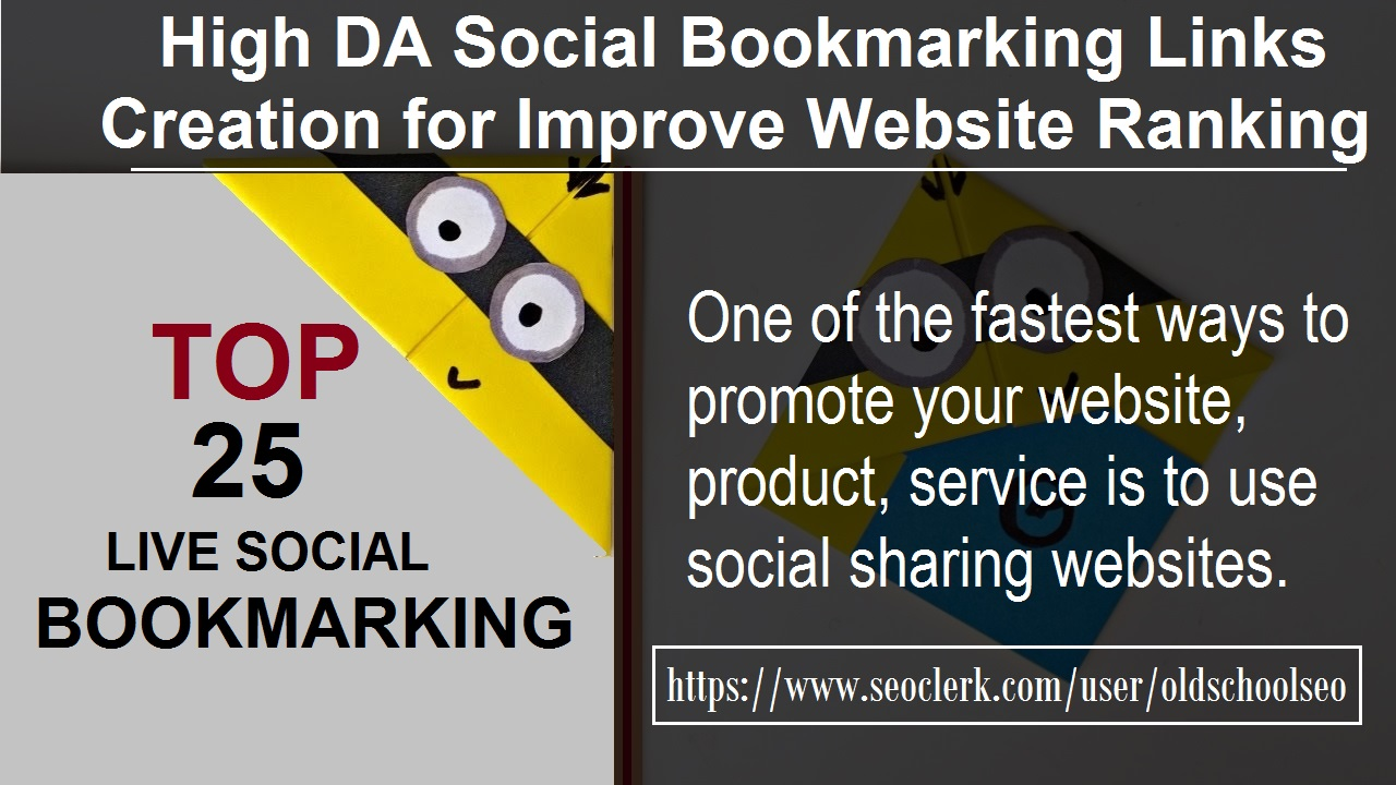 I Manually Submit Top 25 Social Media Bookmarking Best Seo For Website 24 HOURS DELIVERY