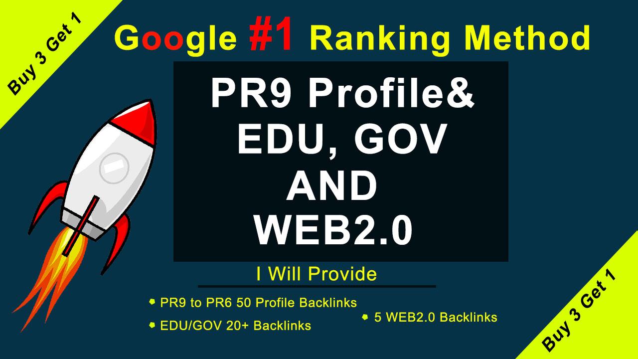 Real Google ranking method with us 50 Pr9,  20 EDU/GOV and WEB2.0 White hat SEO Backlinks