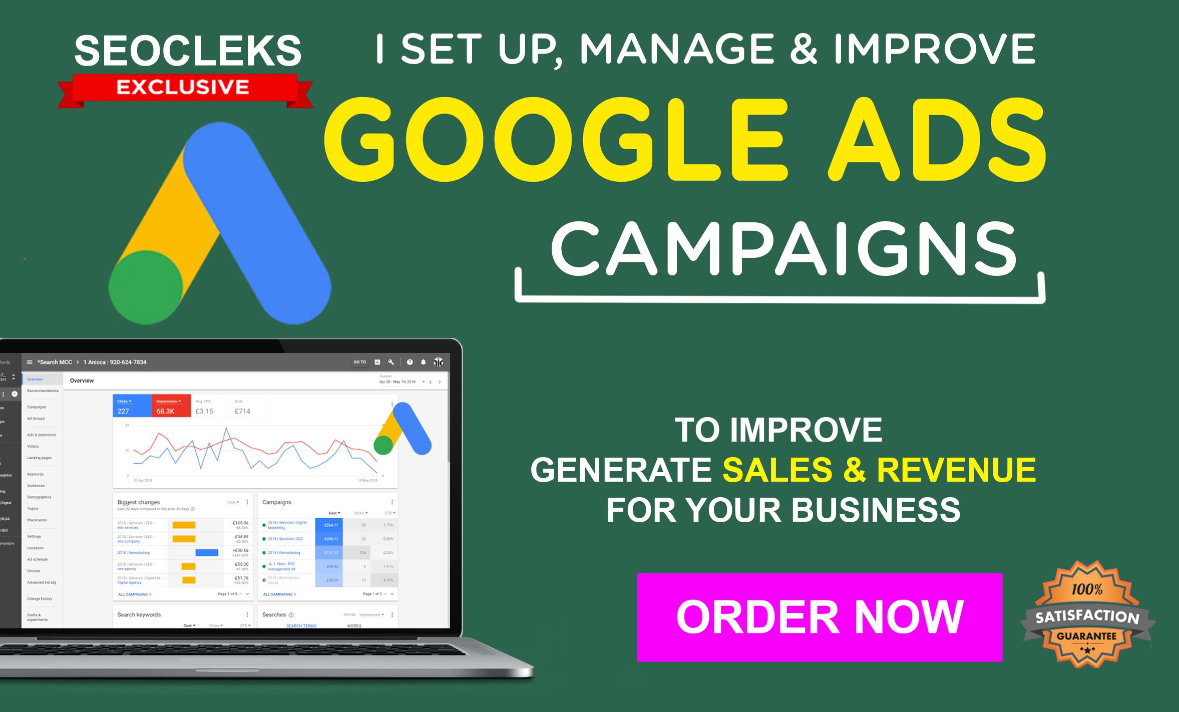 I will Setup,  Manage & Optimize Google Ads Campaign