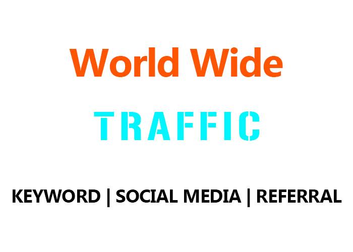 50,000 Real World Wide Organic Keyword, Social Media,  Referral Traffic
