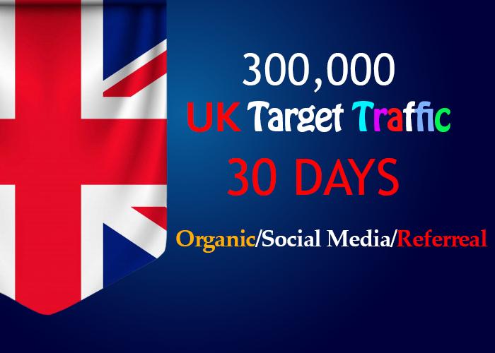 send 300,000 Uk Targeted organic, social media, Referral traffic for 30 days
