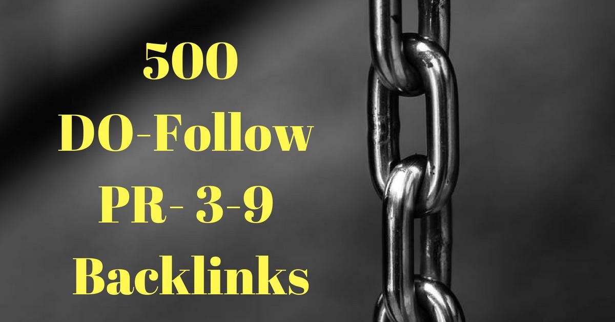 Provide 500 do-follow PR 3-9 High DA backlinks