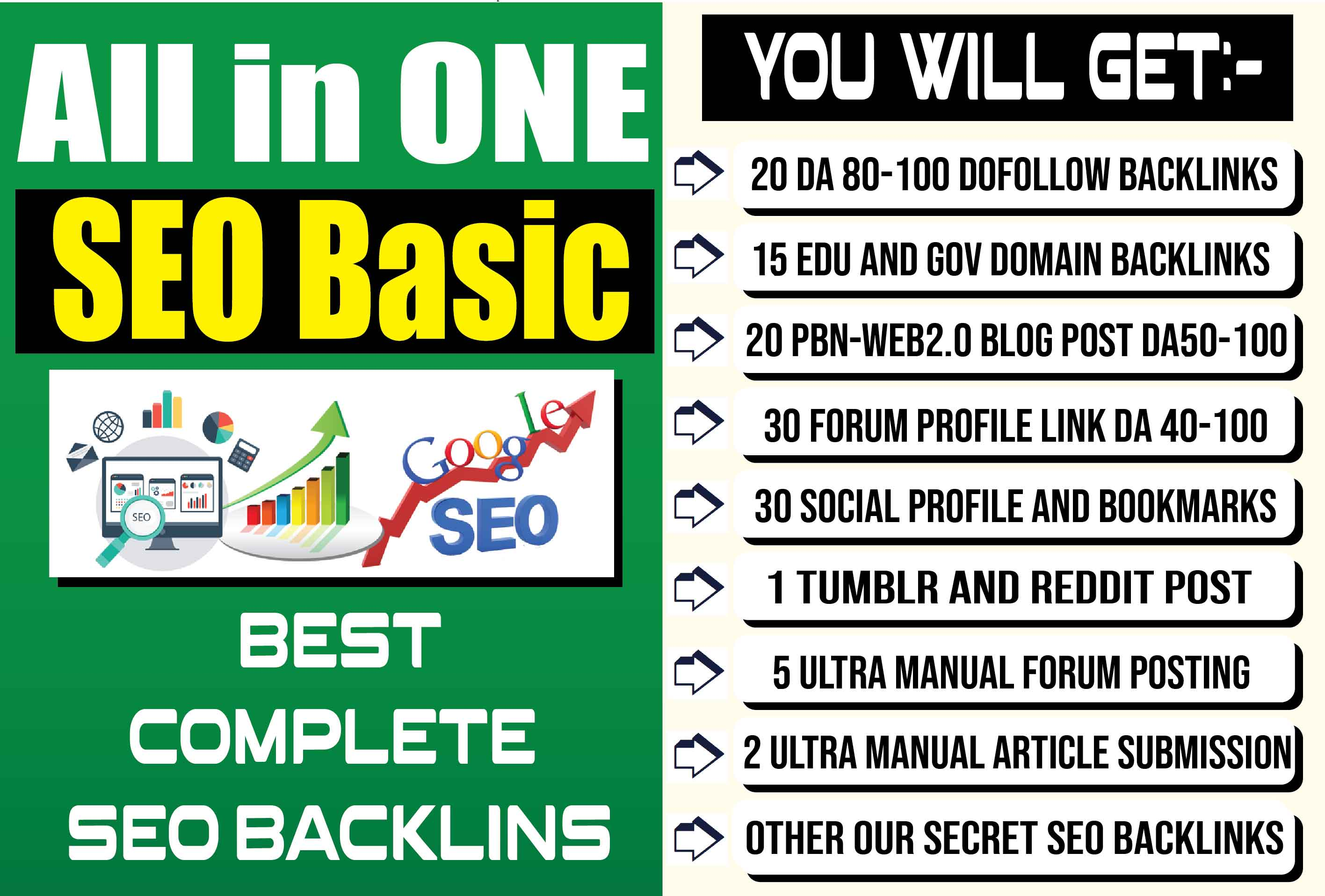 Manually Complete All in One SEO Basic Backlinks to Achieve Google First Page Ranking